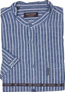 Niebieska koszula Aldo Vrandi z klasycznym kołnierzykiem z krótkim rękawem w stylu casual