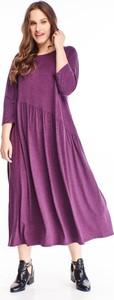 Fioletowa sukienka N/A z okrągłym dekoltem maxi