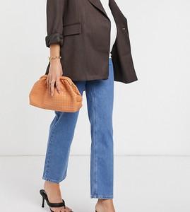 ASOS DESIGN Maternity – Elastyczne jeansy slim z wysokim stanem i prostymi nogawkami z jasnym efektem sprania-Niebieski