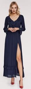 Sukienka diversesystem maxi z długim rękawem z dekoltem w kształcie litery v