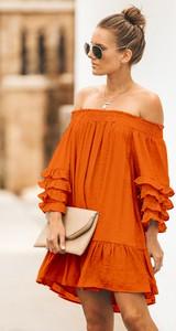 Pomarańczowa sukienka Ivet.pl w stylu casual
