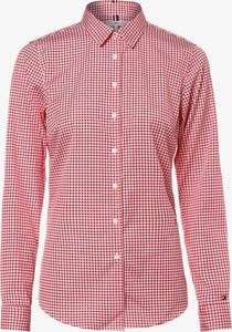 Czerwona bluzka Tommy Hilfiger z kołnierzykiem z długim rękawem w stylu casual