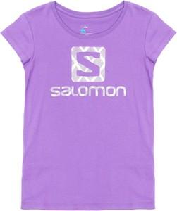 Fioletowy t-shirt Sheandher.pl z bawełny z krótkim rękawem w młodzieżowym stylu