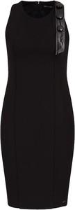 Czarna sukienka Armani Exchange z okrągłym dekoltem bez rękawów mini