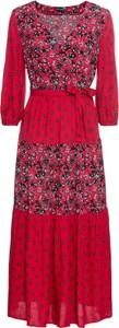 Czerwona sukienka bonprix BODYFLIRT z okrągłym dekoltem w stylu casual z długim rękawem