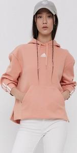 Różowa bluza Adidas z kapturem z bawełny