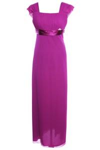 Różowa sukienka Fokus z dekoltem w karo z przeźroczystą kieszenią z szyfonu
