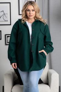 Zielona koszula KARKO z długim rękawem z tkaniny