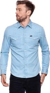 Niebieska koszula Lee z klasycznym kołnierzykiem w street stylu z długim rękawem
