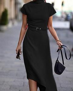 Czarna sukienka Kendallme asymetryczna z okrągłym dekoltem midi