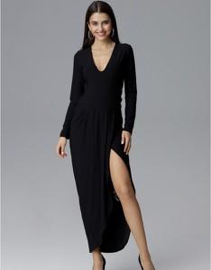 Czarna sukienka Figl z dekoltem w kształcie litery v