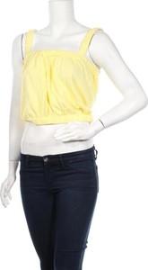 Żółty top Zara Knitwear z okrągłym dekoltem