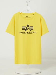 Żółta koszulka dziecięca Alpha Industries dla chłopców z bawełny z krótkim rękawem