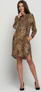 Brązowa sukienka Bialcon w stylu casual mini z długim rękawem