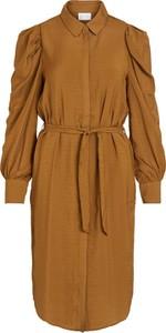 Brązowa sukienka Vila mini z długim rękawem