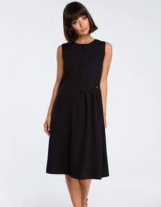 Czarna sukienka Be z tkaniny bez rękawów