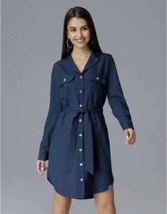 Niebieska sukienka Figl mini z długim rękawem koszulowa