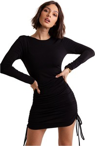 Sukienka Ivon z okrągłym dekoltem z długim rękawem mini