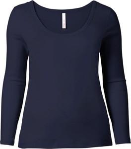 Granatowa bluzka Sheego Casual w stylu casual z dżerseju