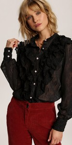 Czarna koszula Renee z długim rękawem z kołnierzykiem