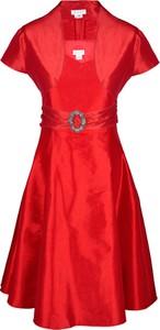 Sukienka Fokus rozkloszowana z tiulu z krótkim rękawem