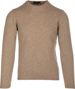 Brązowy sweter Daniele Fiesoli z okrągłym dekoltem w stylu casual
