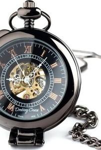 Drobiny Czasu ELEGANCJA CZERNI I zegarek kieszonkowy, dewizka na łańcuszku