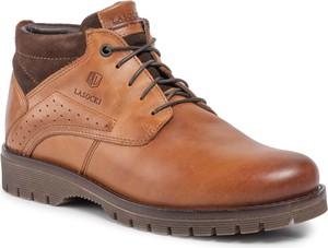 Brązowe buty zimowe Lasocki For Men sznurowane