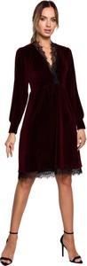 Czerwona sukienka MOE z dzianiny z długim rękawem