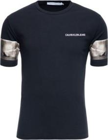 Granatowy t-shirt Calvin Klein z krótkim rękawem w stylu casual