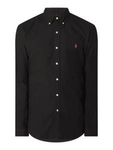 Czarna koszula POLO RALPH LAUREN z długim rękawem z kołnierzykiem button down z tkaniny
