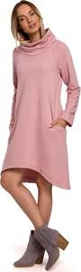 Sukienka MOE z długim rękawem w stylu casual z bawełny