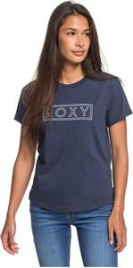 Granatowy t-shirt Roxy w młodzieżowym stylu z krótkim rękawem