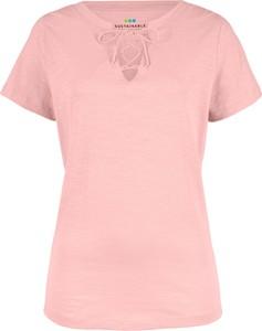 T-shirt bonprix bpc bonprix collection z bawełny ze sznurowanym dekoltem w stylu casual