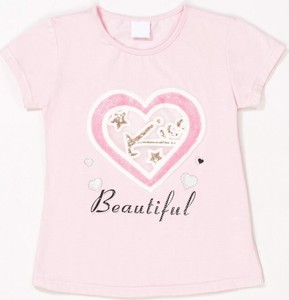 Różowa bluzka dziecięca born2be z krótkim rękawem
