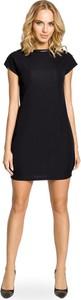 Czarna sukienka MOE z krótkim rękawem w rockowym stylu z okrągłym dekoltem