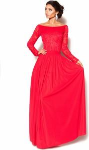 Pomarańczowa sukienka Sukienki M&M z dekoltem w łódkę z długim rękawem maxi