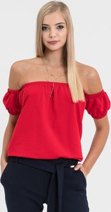 Czerwona bluzka Diverse z krótkim rękawem z dzianiny hiszpanka