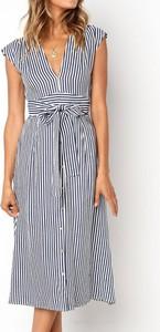 Sukienka Sandbella z dekoltem w kształcie litery v z krótkim rękawem