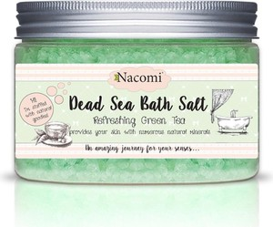Nacomi, Dead Sea Bath Salt, sól do kąpieli z minerałami Morza Martwego, Refreshing Green Tea, 450 g