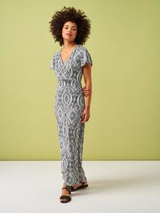 Sukienka Smashed Lemon z dekoltem w kształcie litery v z krótkim rękawem