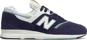Niebieskie buty sportowe New Balance z zamszu z płaską podeszwą