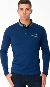 Niebieska koszulka polo Antracid z długim rękawem