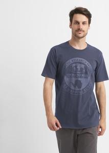 Niebieski t-shirt Napapijri z krótkim rękawem