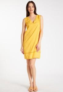 Żółta sukienka Monnari z dekoltem w kształcie litery v bez rękawów