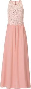 Różowa sukienka Vera Mont z okrągłym dekoltem w stylu boho