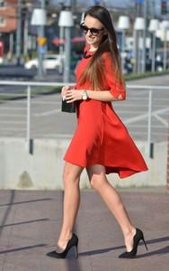 Sukienka Moda Dla Ciebie z długim rękawem asymetryczna