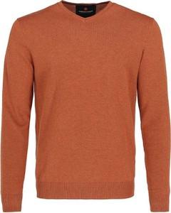 Pomarańczowy sweter volcano.pl z dzianiny w stylu casual