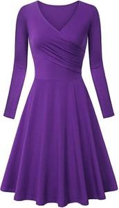 Fioletowa sukienka Cikelly midi z dekoltem w kształcie litery v z długim rękawem