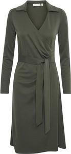 Zielona sukienka InWear w stylu casual z długim rękawem z dekoltem w kształcie litery v